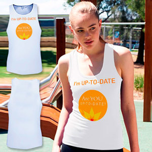 Women's Quality Soft Poly Action-Back Singlet (printed front and back) Sizes 8–18